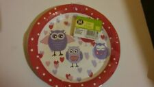 10 x owl paper plates circle approx 23cm pink purple