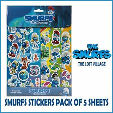 SMURFS STICKER PACK 5 SHEET- PARTY FAVOURS-BAG FILLERS- BIRTHDAY CARD DECORATION