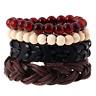 Fashion Men's Genuine Leather Handmade Braided Beads Bangle Bracelet Wristband