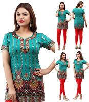 UK STOCK Green Women Fashion Indian Short Kurti Tunic Kurta Top Shirt Dress 27C