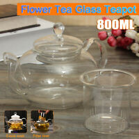 800ml Clear Steel Heat Resistant Flower Tea Glass Teapot Infuser Teapot Bottle
