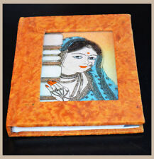 Handmade Recycled Paper Glass Gemstone Painting Address Phone Book from India