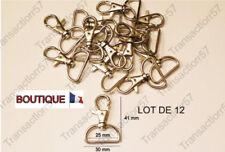 12 Mousqueton Fermoir Boucle Anneau pour sangle bretelle 25mm Métal Argenté