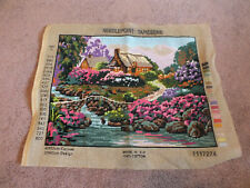 Needlepoint Sampler Complete Ready to frame etc. Cottage in Woods River Bold Col
