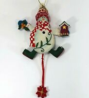 Resin Pull String Snowman Christmas Ornament Whimsical Holiday Tree Decoration