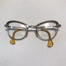 Vintage 50's American Optical Cat Eye Glasses Flamettes Glitter Gold Filled