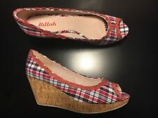 Killah Red Blue White Gingham Cork Wedge Heel Shoes Size 40 Fit AU 9 EU 40