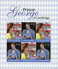 Antigua & Barbuda 2014 MNH Prince George of Cambridge 6v M/S William Kate Stamps