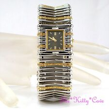 Omax Ladies Rhodium & Gold PLT Seiko Movt Cuff Watch w Swarovski Crystals JES398