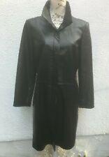 Ladies Black 42 Leather Coat 14 Knee Slit Button Sardar Punk Goth Military Car