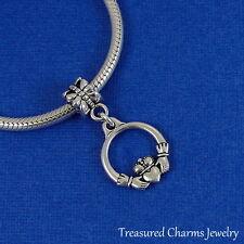 Silver Irish Claddagh Dangle Bead Charm fits European Charm Bracelets NEW