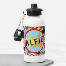 Personalised Superhero Comics Boys 400ml Kids Children's Water Drinks Bottle