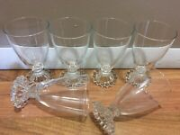 "4+2 6 Wine Glasses Dessert Bowl Cups Parfait HOBNAIL BEADED PEARL Stemmed 5 3/8"""