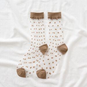 Women Transparent Thin Spot Lace Socks Crystal Silk Short Ankle Socks Summer Hot