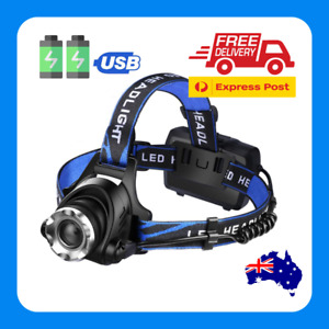LED Head Torch Headlight Camping Headlamp USB Rechargeable Waterproof