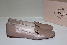 New Prada Beige Leather Smoking Slipper Loafer Logo Flat Women Shoes  9.5 / 39.5