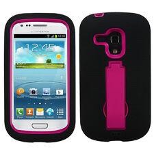 AT&T Samsung Galaxy S3 MINI i8190 IMPACT Hard Rubber Case Phone Cover Kickstand