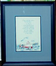 Original Watercolor Edmund Fitzgerald & Bible Verse Porter Family Boat Ship Art