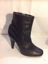 Fiore Black Ankle Leather Boots Size 4