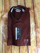 New Van Heusen Button Front Shirt Mens L  Brown LS Non-Iron Regular Fit