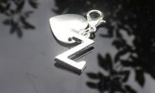 Personalised Initial Clip On Charm With Heart and Silver Plated Letter