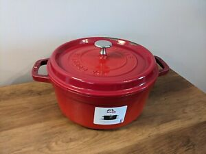 STAUB Cast Iron Round La Cocotte 24cm 3.8L - Cerise Made in France Cooking Dish