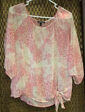 Women's Sheer Top From Express, Pink & Beige Leopard Print - Size S/P