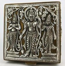 SOUTH INDIAN / TANJORE SILVER & BRASS COVERED BOX c1900