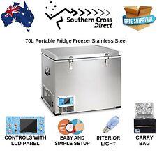 70L Portable Fridge and Freezer Stainless Steel 12V 24V 240V Power