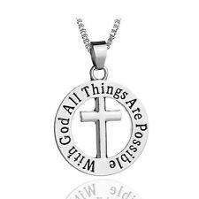 """925 Argento PLT """"con Dio tutte le cose sono possibili"""" CROCIFISSO Gesù collana un"""