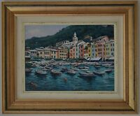 Circle of Michele Cascella (1892-1989) Italian Portofino Riviera Port Oil Canvas