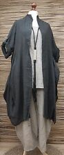 LAGENLOOK LINEN/COTTON LAYERING QUIRKY BOHO JACKET/COAT**CHARCOAL**SIZE L-XL-XXL