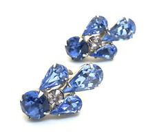 Beautiful Blue Glass Rhinestone Silver Tone Vintage Screw Back Earrings
