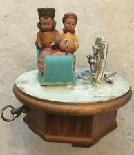 Vintage Figural Thorens Music Box Swiss Movement Carved Wood