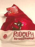 Rudolph The Red Nosed Reindeer Light Up Santa Hat Christmas Red Adult NEW