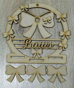 MDF Personalised Bow Holder (M) - Embellish, Paint, Colour, DIY