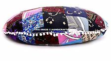 """Indian Large Round Floor Cushions 32"""" Patchwork Cotton Throw Pom Lace Pouf Decor"""