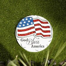 """God Bless America Stepping Stone - 10 1/4"""" Round - Cement - Multicolor"""