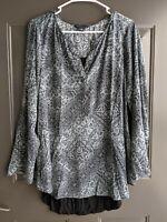 ROCK & REPUBLIC Womens Blue Black Paisley Print Long Sleeve Boho Blouse Top Sz L