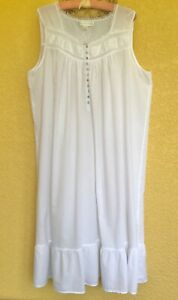 EILEEN WEST Long White Cotton Gown, Size XLarge