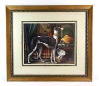 "Large Vintage Elaine Vollherbst ""Royal Greyhound"" Dog Print Signed Dated"
