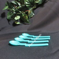 Tupperware New Set of Teal 4 Blue Baby Hang On Feeding Spoon Spoons