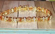 Ross Simons 18k Yellow Gold/Sterling silver citrine cluster tennis Bracelet