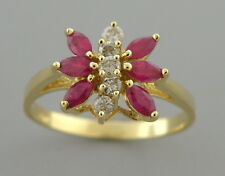 14K YELLOW GOLD DIAMOND & RUBY BUTTERFLY LADIES GIRLS RING