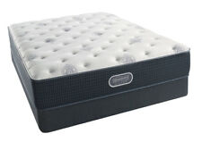 Simmons Beautyrest Silver Plush Queen Mattress Set & Frame Gel Hybrid Coil