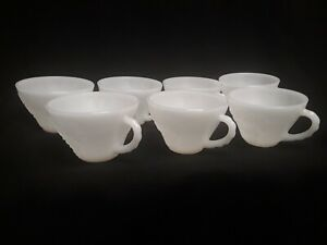 Vintage Anchor Hocking Milk Glass White Grape 6oz Punch Cup. Set of 7