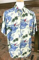 PIERRE CARDIN Rayon Hawaiian Palms Sailing Island Camp Shirt Havana ~ Men's XL
