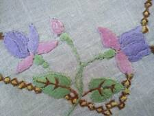 Lovely Vintage Pink/Mauve Fuchsia Flowers ~ Hand Embroidered Doily