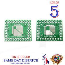 5x PCB QFP TQFP LQFP FQFP 32 44 64 80 100 Pin to DIP Adapter Board Converter