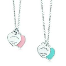 Pink and Blue Enamel Double Mini Hearts Silver Chain Pendant Necklace New